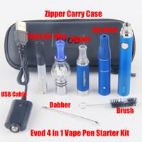 evod vaporizer starter kit großhandel-eVod 4-in-1-Multi-Vape-Stift-Starter-Kits für trockenes Kräuterwachs-Tupfer dickes Öl Eliquid EGO UGO 4in1 E-Cig Vaporizer Kit