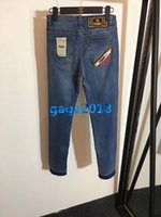 ingrosso pausa di abito-Le donne ragazze blu denim pantaloni ricamo lettera a righe jeans strappati pantaloni a matita capris pantaloni casual high-end moda personalizzata abito di lusso