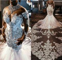lange kristall brautkleider großhandel-Bloße Ineinander greifen Top Spitze Mermaid Brautkleider 2019 Tulle-Spitze-wulstige Kristalle mit langen Ärmeln Hochzeit Brautkleider mit abnehmbarem Zug