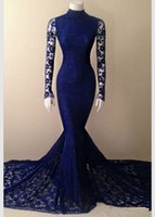 Wholesale backless fishtail prom dress resale online - Royal Blue Lace Mermaid Prom Dresses High Neck Fishtail Court Train Sheer Long Sleeve Formal Occasion Evening Dresses