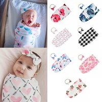 blumenbeutel für kinder groihandel-7styles Baby Sleeping Bags Newborn Infant Baby Swaddle Blanket Kid Baby Sleeping Swaddle printed Wrap floral Headband 2pcs  lot FFA2197-1