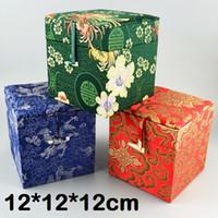 caixa de decoração chinesa venda por atacado-Artesanato Macio Quadrado 12 Caixa De Armazenamento De Tecido Cubo de Madeira De Seda Chinês Brocade Caixa de Jóias de Decoração Pedra Jade Coleção Box 12x12x12 cm