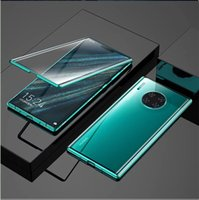 Wholesale magnets for sale for sale - Group buy Magnet Absorption Shell Metal Bumper Anti Scratch Tempered Glass Back Cover Case Hot Sale Magneto Phone Case for Huawei Mate30