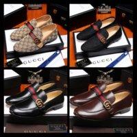 kahverengi i̇talyan elbise ayakkabıları toptan satış-2019 Yeni marka tasarımcı siyah kahverengi üzerinde kayma İtalyan resmi elbise loafer'lar erkeğin Flats Çıkışları Erkekler Rahat Ayakkabılar Deri Erkek Ayakkabı