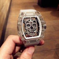 homens relógios de luxo china venda por atacado-relógios masculinos de luxo ocasional de aço inoxidável china Esqueleto Dial Relógio de pulso crânio movimento mecânico relógios automático para os homens