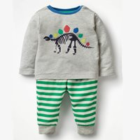 Wholesale children christmas clothing online - Boys Clothing Set with Animals Pattern Toddler Boy Clothes Kids Back to School Outfit Christmas Clothing Children Tracksuits