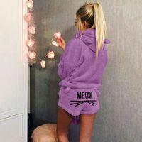 пижама милая оптовых-Cute Pajama Sets For Women Winter Hooded Sleepwear Flannel 2 Pcs Pyjama Suits Femme Cartoon Cat Pijama Feminino Plus Size 5XL