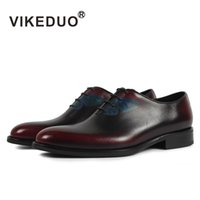 мужская обувь оптовых-VIKEDUO 2018 Vintage Dress Shoes Men Classic Butterfly Painting Formal Shoe Male Wedding Office Sapatos Genuine Leather Zapatos
