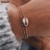 золотые украшения морской ракушки оптовых- Vintage Gold Color  Shell Multi Layer Bracelet Set For Women Seashell Chains Charms Layered Bracelet Anklet 3699