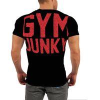 chemises musculaires de couleur unie achat en gros de-Muscle frères coton vente à chaud manches courtes été nouvelle forme sportive marée mode masculine couleur unie sauvage T-shirt