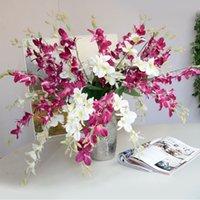 ingrosso fiore da tavola artificiale da tavola-1 pz Fiori di Orchidea Artificiale Ramo di Seta Cattleya Fiore Farfalla Orchidea Per La Casa di Nozze Tavolo da pranzo Decor Fiore Finto A1453