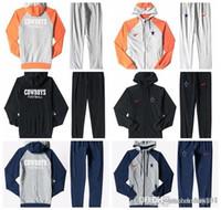 traje de hombre xxl al por mayor-Dallas Cowboys Estampado de hombres Zip completo Ropa deportiva Traje deportivo Traje Plus Pantalón azul ceniza Negro Naranja empalme blanco
