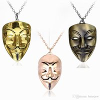 Wholesale vendetta silver mask for sale - Group buy Hip Hop Jewelry V For Vendetta Mask Necklace Men Jewelry novel Charm Pendant Necklace Cuban Link Chain Metal Jewelry Mens Necklaces
