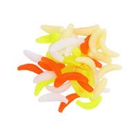 Wholesale grubs bait online - 100PCS cm g Soft Bait maggot Grub Soft Fishing Lure hooks smell Worms Glow Shrimps Fish Lures Lifelike Fishy Smell Accessories