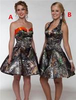 kısa saten junior dress toptan satış-Camo Kısa Gelinlik Modelleri Sevgiliye Saten A Hattı Diz Boyu Balo Elbise Parti Elbise Vestidos De Festa Genç Mezuniyet Elbiseleri