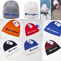 gorros de ganchillo gorro al por mayor-Candy Colors Champion Brand Winter Knitted Beanie Hats Designer Knit Caps Hombres Mujeres Deportes al aire libre Ear Muff Crochet Hat Skiing Beanies B9301