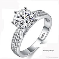 Wholesale 925 sterling silver 8mm for sale - Group buy 100 Real Natural Sterling Silver Women Luxury mm Sona Cubic Zirconia Wedding Rings Jewelry ZLR006