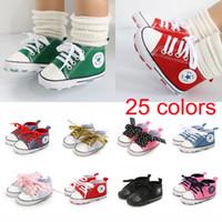 bebek tığ işi kar pamuk çizmeleri toptan satış-25 Renkler Moda Çocuklar Tasarımcı Ayakkabı Kızlar ilmek Bebek Yürüteç Ayakkabı Tuval Katı Yenidoğan Bebek Ayakkabı