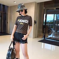 t-shirt d'hiver long cou achat en gros de-T-shirts tricotés pour femme Automne et Hiver 2019 Nouveau costume pour femmes, col brodé à manches longues en F-Letter