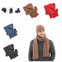 Wholesale warmest hunting gloves resale online - Autumn and Winter Outdoor Warm Beanies Hat Skiing Sport Windproof Cap Knited Hat Scarf Touch Screen Gloves Three piece Suit Gift ZZA915