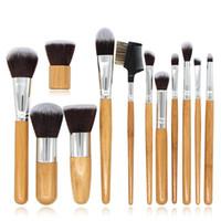 bambu makyaj fırçaları ele toptan satış-Bambu kolu Makyaj fırçalar makyaj fırça kapatıcı fondöten için eyehaow göz kalemi Makyaj Fırçalar seti makyaj fırçalar set kozmetik araçları