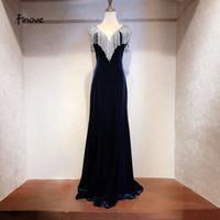 navy tank kleid großhandel-Finove Sexy V-Ausschnitt Abendkleider 2019 Navy Blue Tank Bodenlangen Backless Tassel Mermaid Abendkleider Party Dress Gowns # 18C025