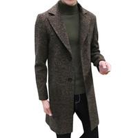 casacos formais para homens venda por atacado-Hot Alta Qualidade Design de Moda Homens Formais Único Breasted Figurando Casaco Longo Casaco De Lã Outwear Mais Casaco de Inverno Dos Homens Novo
