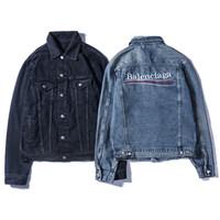 moda jean ceket kadınlar toptan satış-Tasarımcı Erkekler Marka Ceketler Moda Mektup Denim Ceket Erkekler ve Kadınlar Vintage Stil Kenar Jean Mont Marka Giyim Denim Ceket