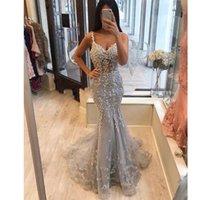 abendkleid hellgrau großhandel-Bescheidene 2019 Light Grey Lace Mermaid Abendkleider Perlen Lange Abendkleider Abiye Robe De Soiree Party Dress
