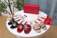 ingrosso pantofole a casa mocassini-in pelle di mucca di disegno di marca le donne a basso pantofole tacco sandali, l'estate di moda signora dell'ufficio Fibbia in metallo rosso Indoor pantofole a casa mocassini, 35-43