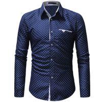 männer polka kleid hemden groihandel-KANCOOLD Printed Plaid-Tupfen-Mann-Hemd-langärmliges beiläufige Hemden für Männer Slim Fit Male Kleid Shirts Camisas Masculina