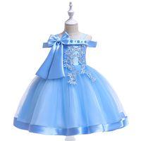платья с цветочками оптовых-Детское платье на плечо New word Девушка с бантом из бисера Цветочное свадебное платье Цветочница Платье принцессы