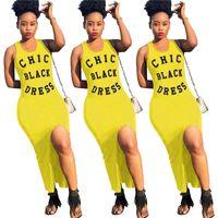 heiße schwarze röcke großhandel-Frauen Chic Schwarzes Kleid Brief Gedruckt Unregelmäßigen Split Rock Sleeveless Weste Tank Sommer Bodycone Strumpfhosen Kleid Maxi Kleider S-XL Hot