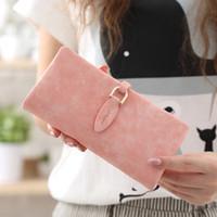 çanta tokaları toptan satış-Yeni Kadın Deri Yaprak Uzun Cüzdan Kadın Sikke çanta Değişim Toka Çanta Para Çanta Kart Sahipleri Bayan Cüzdan Ve Çantalar