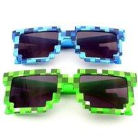ingrosso occhiali da sole alla moda-Novità Occhiali da sole vintage a mosaico per bambini Square Unisex Pixel Occhiali da sole Trendy Mosaicic Glasses Kids Party Prop