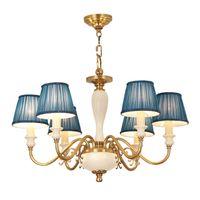 ingrosso luce ceramica d'epoca-Americano vintage rame lampada a sospensione lampadario soggiorno camera da letto lampade a sospensione europea retrò lampadari a sospensione in ceramica apparecchio di illuminazione
