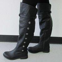 женские сапоги на высоком каблуке оптовых-Женская Длинные сапоги Flats Круглый Toe Кожа PU женская обувь с теплой плюша на низком каблуке Zipper Женская обувь Western High Boots трубные
