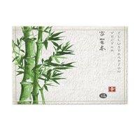 bambu asiático venda por atacado-Decoração da planta verde, tapetes de bambu asiáticos do banho da pintura da aguarela, entrada do assoalho de Non-Slip Doormat