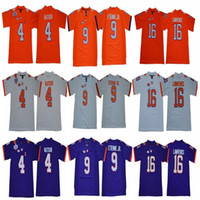 jerseys clemson al por mayor-NCAA Hombres Clemson Tigres 16 Trevor Lawrence 4 Deshaun Watson 9 Travis Etienne Jr. 7 Austin Bryant Naranja Blanco púrpura Camiseta de fútbol del colegio