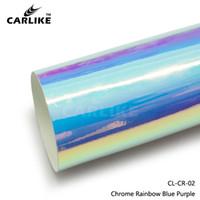 auto envoltura de cromo azul al por mayor-Venta al por mayor al por mayor de Blue Purple Chrome Laser Rainbow Car Wrap Vinyl Film