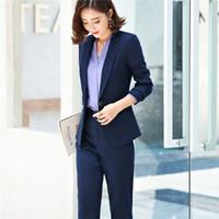 ingrosso cappotto senza bottoni-Abiti da lavoro Moda Pantalone Set da 2 pezzi per donna Giacca monopetto monopetto Pantalone Office Lady Suit Feminino 6020
