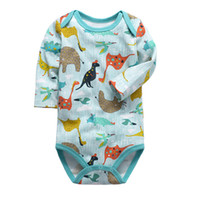 Wholesale animal sleeve bodysuit resale online - Babies summer pattern Boys Bodysuit Newborn Baby Girls Clothing Long Sleeve more colors