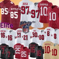 maillot de football 85 achat en gros de-49er 85 George Kittle 10 Jimmy Garoppolo 97 Nick Bosa Jersey San Francisco 80 Jerry Rice 49er Sherman Reuben Foster Montana Football
