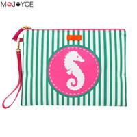 Wholesale wrist strap handbag resale online - Women Beach Bag Handbag Fashion Girl Stripe Wet Bikini Bag Tassel Waterproof Lining Female Wrist Strap Clutch Bag