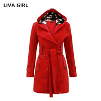 Wholesale women s wool hats white for sale - Group buy Liva Girl New women s autumn and winter fashion hooded Imitation wool coat long section of double breasted solid color Slim