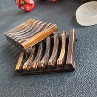 bambusseifen großhandel-Natürliche Holz Bambus Seifenschale Halter Lagerung Seife Rack Platte Box Container Für Bad Duschplatte Bad EEA236
