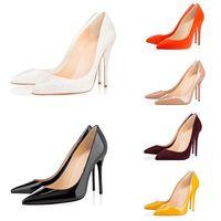 vestir fundos venda por atacado-2019 Moda designer de luxo mulheres sapatos de fundo vermelho de salto alto 8 cm 10 cm 12 cm Nude preto vermelho Couro Apontou Toes Bombas vestido sapatos