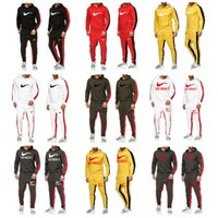 Wholesale yellow running sets resale online - Autumn Winter Brand Print Tracksuit Men Woman Casual Sportswear Suits Mens Two Piece Sets Pullover Hoodies Pants male Hot Sale