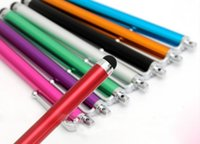 Wholesale tablets for sales resale online - Hot Sale Long Capacitive Universal Screen Metal Stylus Touch Pen With Clip For Cellphone Tablet PC