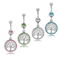 D0753-4 ( 4 colors ) Mix Color Life-tree style navel button ring piercing body jewlery 1.6*11*5 8 belly ring Body Jewelry
